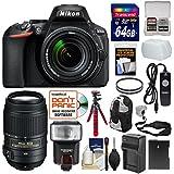 Nikon D5600 Wi-Fi Digital SLR Camera & 18-140mm VR DX AF-S Lens + 55-300mm VR Lens + 64GB Card + Case + Flash + Battery/Charger + Tripod + Filters Kit