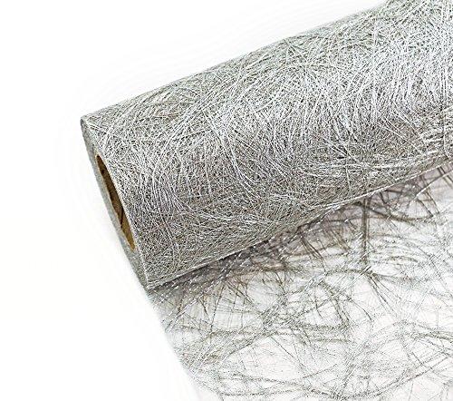 Tischband SILBER Struktur-Tischläufer 25m - individuell zuschneidbar - Breite: 20cm