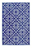 Unbekannt Fab Habitat Reversible, Indoor/Outdoor Weather Resistant Floor Mat/Rug - San Juan - Dark Blue (3' x 5')
