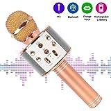 Karaoké Microphone de Microphone Musique à Main Bluetooth Compatible avec Smartphone/Android/IOS/PC, pour Adultes et Enfants Chanter Jouer Faire la Fête(Or rose)