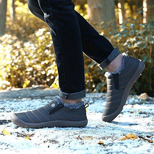 Minetom Unisex-Adulto Uomo Donna Primavera Invernali Pantofole Caldo Scarpe Impermeabili Foderate Stivali B Grigio