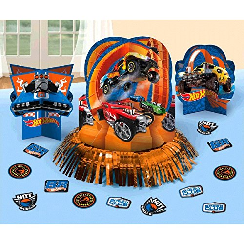 Amscan Fast Riding Hot Wheels Wild Racer Birthday Party Assorted Table Decorating Kit (4 Piece), Multicolor, One Size