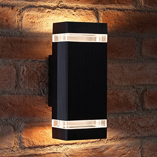 auraglow-indoor-outdoor-double-up-down-wall-light-black-warm-white-led-bulbs-included