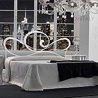 Arredinitaly Cama de Matrimonio de Hierro Color Blanco con giroletto pregrabado para Red con Patas 160x 190cm. No Incluye–Producto Made IN Italy–arr028 - Muebles de Dormitorio precios