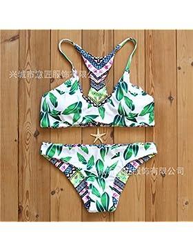 Moderno y cómodo bikini _ cuadrado elegante correa dividida deja la impresión a doble cara de cuatro cuadrados...