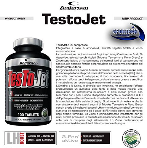 Anderson TesToJet Testosterone Booster Arginina AKG - Ornitina AKG - Lisina - Acido aspartico - Tribulus - Fieno greco - Zico mono metionina 100 cpr