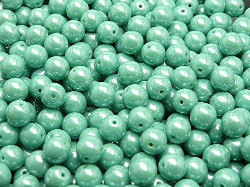 50pc Ceco tondo perle di vetro schiacciate, diametro 6 mm, Opaque Turquoise Green White (6 Mm Opaco)