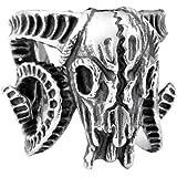 INRENG Men's Stainless Steel Biker Ring Vintage Goat Horn Skull Silver Black