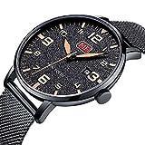 Uhren Herrenmode Wasserdichte Uhr Ultradünne Edelstahl Analog Quarz Uhren Datum mit Datum Schwarz Mesh Band