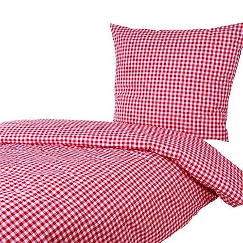 Hans-Textil-Shop Bettwäsche 135x200 80x80 cm Karo 1x1 cm Mischgewebe (Rot)