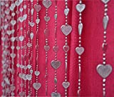 Pindia 6Ft Strings Bead Curtain Silver Heart Fancy Sparkling Door Window String Beads Thread Sheer Shear Rod Room Hanging - SILVER - 6 X 3.5 FT