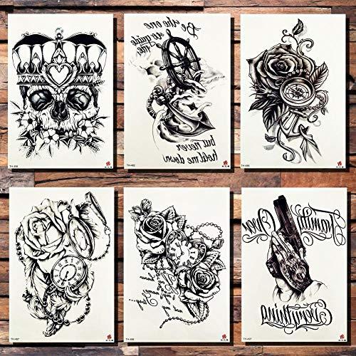 Tattoo Aufkleber Wasserfest Krone Schädel Anker Blume Tätowierung Sticker Rose Pirat Taschenuhr Herz Schwarz Tattoos Body Art Arm Gun Fake Tattoo