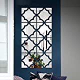 Bikri Kendra - Pattern Silver (Pack of 8) - 3D Decorative Mirror Acrylic Wall Stickers