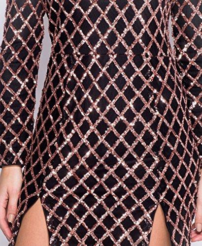 Ladies V Neck manches longues Sequin Front Slits robe EUR Taille 36-42 Noir