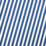 0,5m Streifen-Stoff 5mm royalblau/ weiß 1,4m breit 100% Baumwolle Meterware