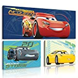Disney Cars Leinwandbild Set 3 Teilig - Wandbild für Kinder - Leinwandbilder 80 x 30cm + 2 x 37,5 x 25,8cm -11247S16-