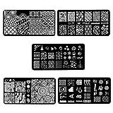 Beauty7 5 Conjunto Sets Placas de Estampación de Uñas Acero Inoxidable Stamping Diseños para Uñas Manicura Serie de Flores Árboles Ciervo Casa de Impresión de la Placa Uñas Artes (6)