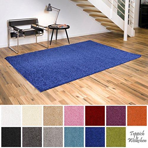 Shaggy-Teppich | Flauschige Hochflor Teppiche fürs Wohnzimmer, Esszimmer, Schlafzimmer oder Kinderzimmer | einfarbig, schadstoffgeprüft, allergikergeeignet (Blau, 120 cm rund)