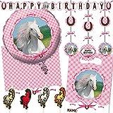 Reegen/Carpeta 62-TLG. Deko-Set * WEISSES Pferd * für Kindergeburtstag und Motto-Party mit Tischdecke + Girlande + Decken-Deko + Partytüten + Folienballon + Kerzen + Luftballons + Luftschlangen