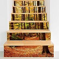 RLF LF Decoraciones De La Escalera Para La Pared Impresión 3D Patrón De Bosque Otoñal Renovación Del Hogar Impermeable Decoración De Papel Tapiz Extraíble (6Pcs) Por RLF.LF,Yellow,100Cm*18Cm