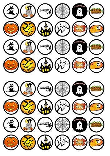 48 Halloween #1, Essbare PREMIUM Dicke GEZUCKERTE Vanille, Reispapier Mini Cupcake Toppers, Cake Pops, Cookies für Wafer