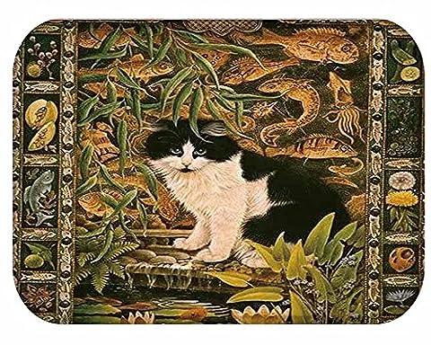 YJ Bear Green Leaf Black Cat Print Indoor Outdoor Area Rug Non Slip Floor Mat Coral Fleece Home Decor Carpet Rectangle Doormat Kitchen Floor Runner 16