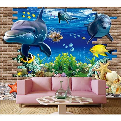 Wiwhy Große Wandgemälde, 3D Dreidimensionale Unterwasserwelt Cartoon Dolphin Tapeten, Wohnzimmer Sofa Tv Wand Kinder Schlafzimmer Tapete-200X140Cm