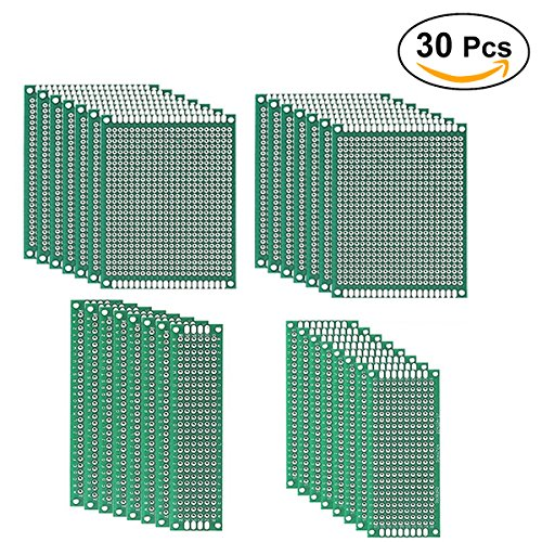UEETEK 30pcs Prototipo de doble cara Placa PCB Kit para la mayoría de los proyectos DIY 5x7 4x6 3x7 2x8cm
