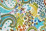 Ramdev Handarbeit aus 100% reiner Baumwolle mit Paisleymuster und Blättern, bedruckt, 111,8 cm breit, Farbe: Off-White
