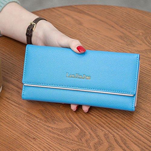 MagiDeal Portafogli Borsa Porta Carta di Identità Credito Raccoglitore Pochette Clutch per Donna - Rosa Azzurro