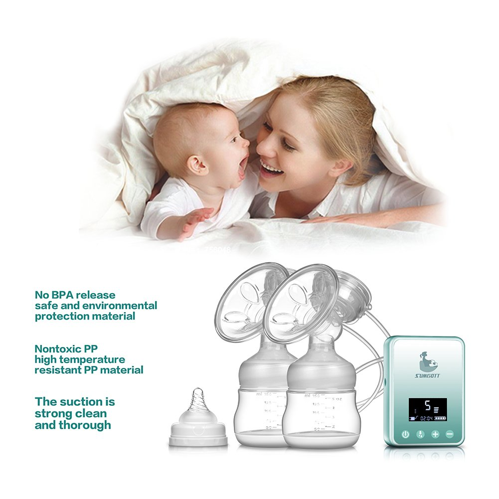 SUMGOTT Double Rechargeable Breastfeeding Pump for Breast Milk Suction and Breast Massage Electric Breast Pump
