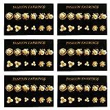 Pendiente con tuerca 36 pares perlas brillantes imitación dorado joyería accesorios