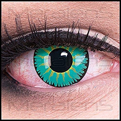 Funnylens 1 Paar farbige Crazy Fun jade turquoise Jahres Kontaktlinsen. perfekt zu Halloween, Karneval, Fasching oder Fasnacht mit gratis Kontaktlinsenbehälter ohne (Kontaktlinsen Jade)