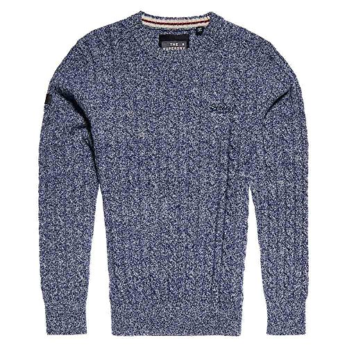 Superdry Harlo Cable Crew Neck Knitwear in Marine Twist Medium (Knit Marine Cable Pullover)