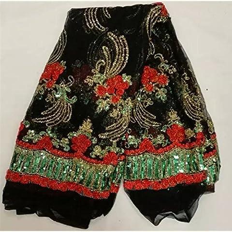 Nueva Excelente patrón de encaje neto negro africano con lentejuelas encanto tela de encaje de tul francés para señoras vestido NN3-4 multicolor