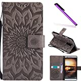 COTDINFOR Huawei Mate 7 Custodia Premium PU Leather Mandala Fiore Elegante Wallet Custodia a Rilievo Custodia Folio Flip Cover Case con Kickstand Card per Huawei Mate 7 Gray Sunflower KT.