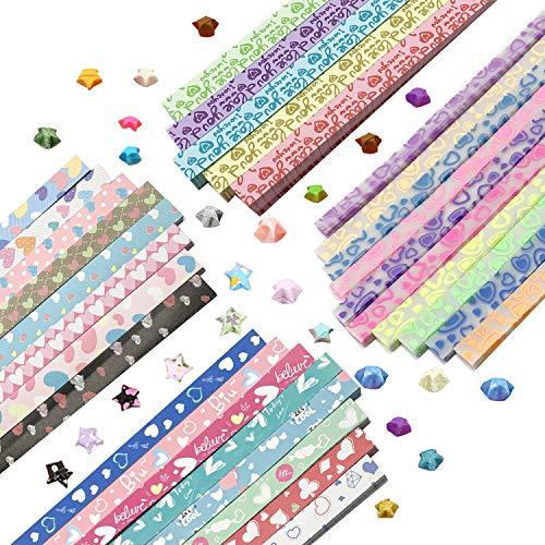 DOITEM Origami Sterne Papier Herz Fluoreszenz Herz Drucken Herz Papier Set, 4 Styles, 31 Farben, 1820 Streifen (Spaß-kunst-projekte Halloween Für)