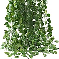 Artificial Ivy Leaf Plants Vine, 12 Strands 87 Feet Artificial Garlands Fake Foliage Flowers Hanging Vine for Home Kitchen Garden Office Wedding Party Wall Decor