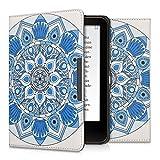 kwmobile Cover per Tolino Vision 1 / 2 / 3 / 4 HD - Custodia a libro per eReader - Copertina protettiva libro flip case Protezione per e-book reader Design Mandala blu blu chiaro bianco