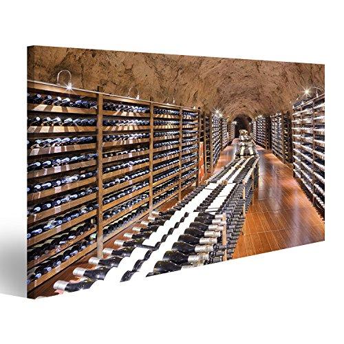Tableau Tableaux sur toile Cave à vin avec une bouteille de vin et des verres Grand Format - XXL - Images Impression Image - Motif moderne - Décoration - Photo DIA