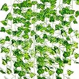 ASEOK 12 Stränge, 22,4 m, künstliche Efeu-Girlande, künstliche grüne Hängepflanze für Wand, Party, Hochzeit, Zimmer, Küche, Innen- und Außendekoration