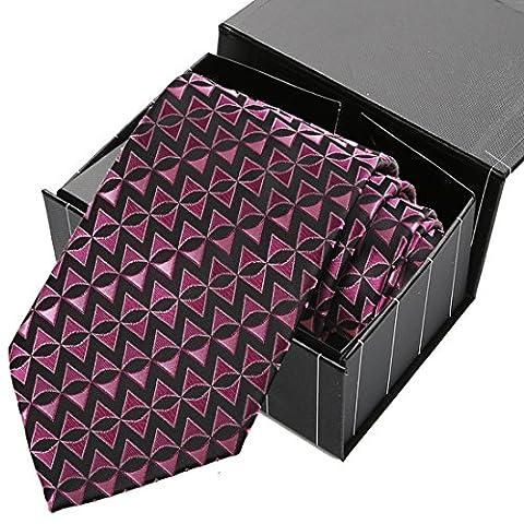KissTies Fushia Pink Black Tie Arrow Triangle Geometric Necktie + Magnetic Box