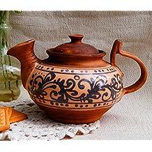 Hecho a mano tetera eléctrica arcilla cerámica esmalte pintado ecológico utensilios de cocina