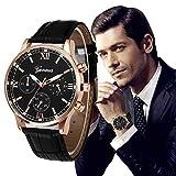 Uhren DAY.LIN Retro Design Lederband analoge Legierung Quarz-Armbanduhr (Schwarz) Bild