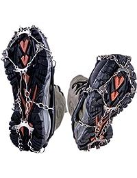 WEYN 8 Dientes Crampones Acero Inoxidable Tacos de Tracción Antideslizante Garras Cadena para Caminar Correr Escalar sobre Nieve o Hielo M (35-40) Negro