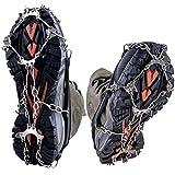WEYN 8 Dientes Crampones Acero Inoxidable Tacos de Tracción Antideslizante Garras Cadena para Caminar Correr Escalar sobre Nieve o Hielo M