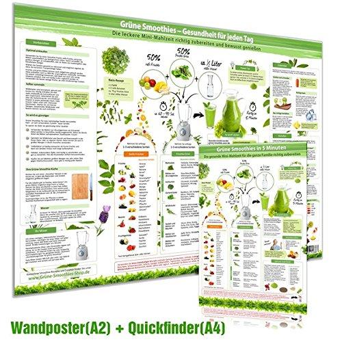 Preisvergleich Produktbild [2er Set] Grüne Smoothies Poster(DINA2) & Grüne Smoothies in 5 Minuten Schnellübersicht(DINA4) Die leckere Mini-Mahlzeit richtig zubereiten und bewusst genießen (2017)