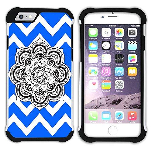 Graphic4You Mandala Blume Winkel Muster (Wasserblau) Hart + Weiche Kratzfeste Hülle Case Schale Tasche Schutzhülle für Apple iPhone 6 Plus / 6S Plus Königsblau