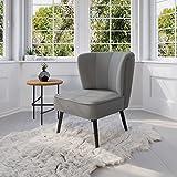 myHomery Venlo Lounge Sessel gepolstert - Polsterstuhl für Esszimmer & Wohnzimmer - Vintagesessel ohne Armlehnen - Eleganter Retro Stuhl aus Stoff - Grau