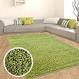 carpet city Teppich Shaggy Hochflor Langflor Flokati Einfarbig/Uni aus Polypropylen in Grün für Wohn-Schlafzimmer, Größe: 140x200 cm